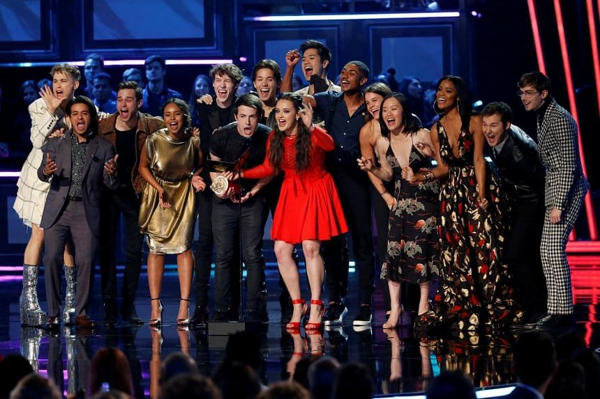 The cast of popular Netflix television drama series 13 Reasons Why at the 2017 MTV Movie and TV Awards.