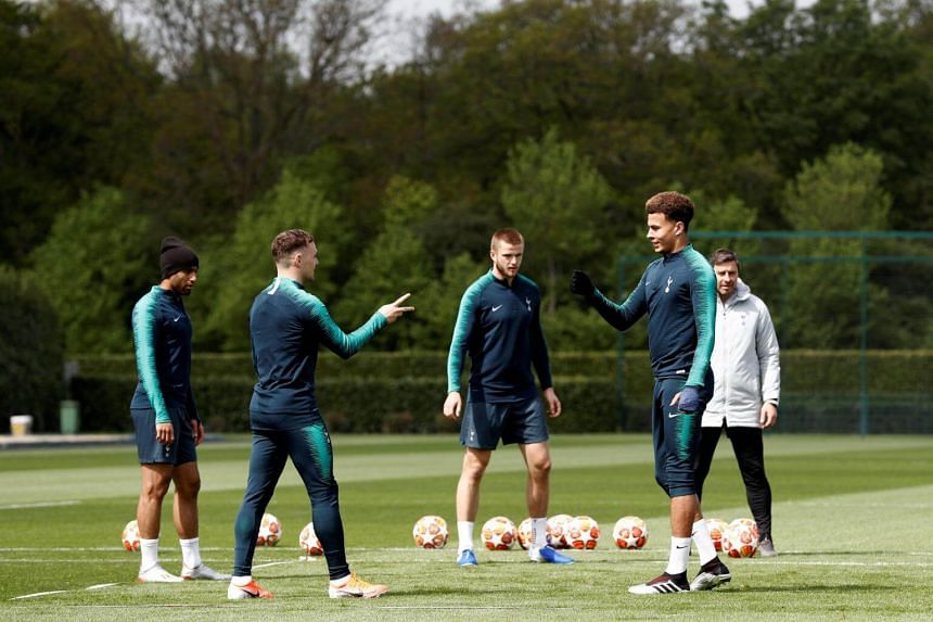 Tottenham Hotspur's players during a team training session at Tottenham Hotspur's Enfield Training Centre, on April 29, 2019.