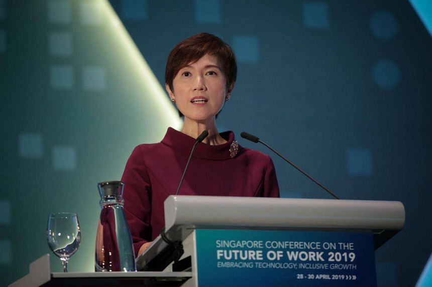 Minister for Manpower Josephine Teo delivers opening remarks at the Singapore Conference on the Future of Work: Embracing Technology; Inclusive Growth, at the Raffles City Convention Centre, on April 29, 2019.