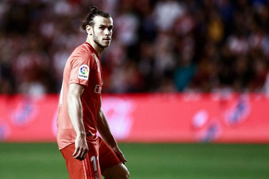 Real Madrid's Welsh forward Gareth Bale at the Spanish League football match between Rayo Vallecano and Real Madrid at the Vallecas Stadium in the Madrid district of Puente de Vallecas on April 28, 2019.