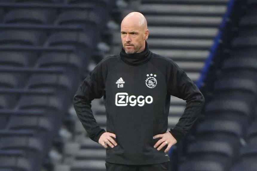 Ajax's Dutch coach Erik Ten Hag takes part in a training session at Tottenham Hotspur Stadium in London, on April 29, 2019.
