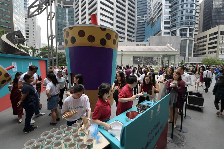 The event to celebrate National Bubble Tea Day was staged by bubble tea chain Gong Cha and food delivery service Deliveroo, which joined forces to dispense free drinks from a 3.5m-tall bubble tea cup.