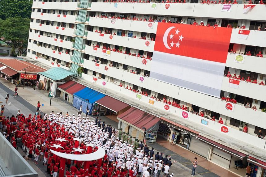 Residents dressed in red and white form a human flag between Blocks 16 and 18 on Bedok South Road, mirroring a giant 12m-by-8m Singapore flag hung on the facade of Block 18, on Aug 5, 2018.