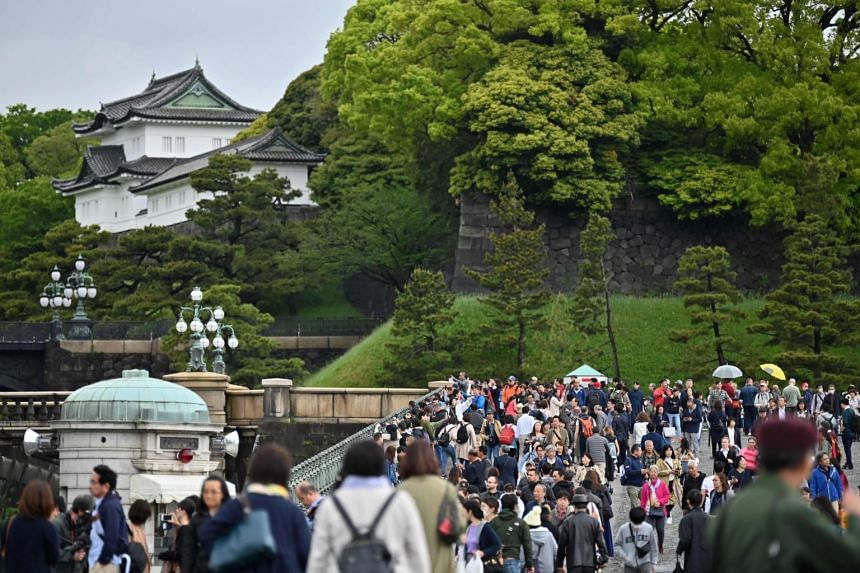 The Imperial Palace in Tokyo on April 30, 2019.