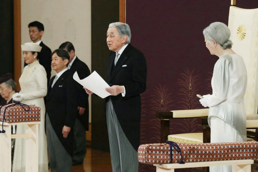 Japan's Emperor Akihito delivering a speech during his abdication ceremony at the Imperial Palace in Tokyo, on April 30, 2019.
