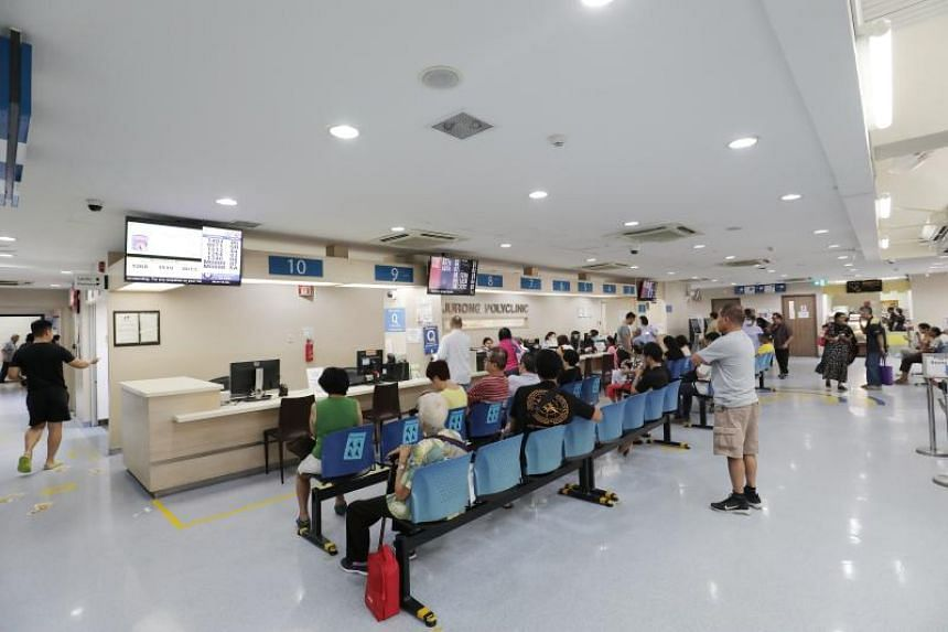 A waiting area at Jurong Polyclinic, on April 30, 2019. The new health hub in Jurong will include a new polyclinic and a 700-bed nursing home.