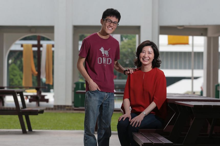 Gen Grit Award nominee Lim Bo Zhi and his former school counsellor Christina Tang-Lien pose for a photo at St Joseph's Institution on April 24, 2019.
