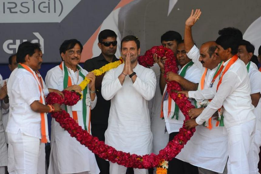 Mr Rahul Gandhi (centre) is the main challenger to Prime Minister Narendra Modi in the 39-day general election that began on April 11, 2019.