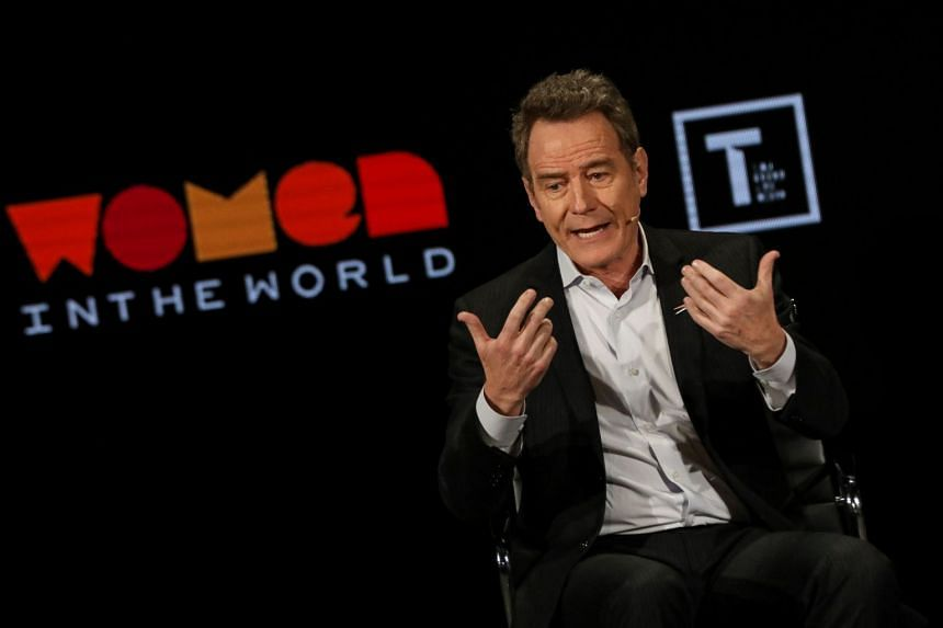 Actor Bryan Cranston speaking on stage at the Women In The World Summit in New York.