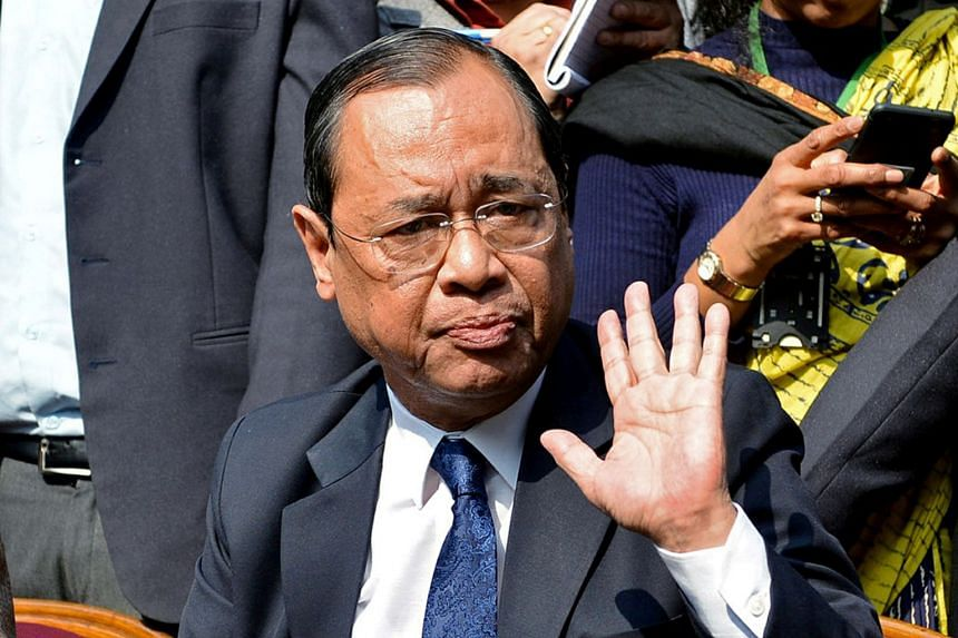 Ranjan Gogoi gestures as he addresses the media at a news conference in New Delhi in 2018.