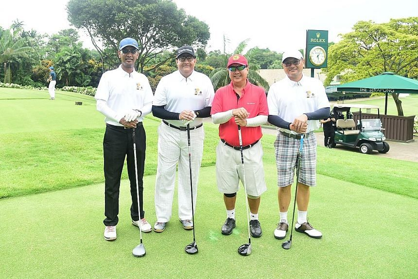 The Singapore Road Safety Council (SRSC) raised more than $300,000 from its 10th anniversary fundraising golf event at the Sentosa Golf Club yesterday. Minister for Communications and Information S. Iswaran (second from left) graced the golf-and-dinn