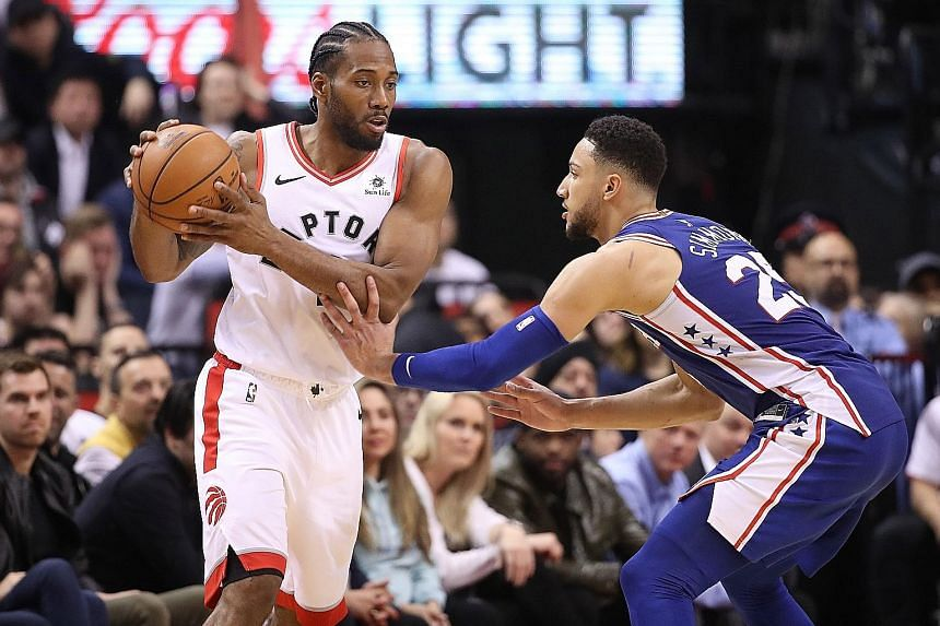 Ben Simmons and the Philadelphia 76ers working hard to contain Toronto Raptors ace Kawhi Leonard in their NBA Eastern Conference semi-final series on Monday. The 76ers won 94-89 to tie the series at 1-1.