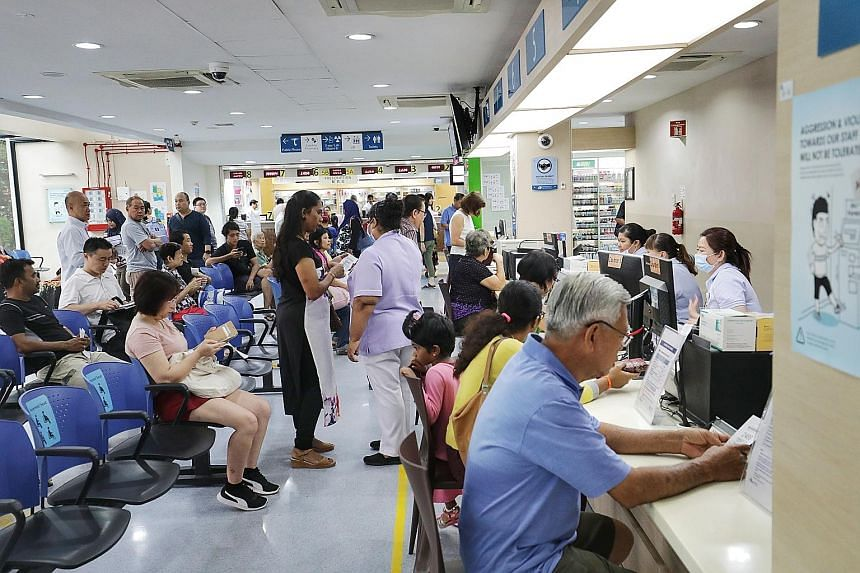 Jurong Polyclinic (left) used to be the most crowded in Singapore until Pioneer Polyclinic was opened in 2017 in Jurong West and took some of the load, although it still remains crowded.