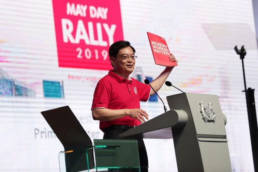 Deputy Prime Minister Heng Swee Keat delivering his first May Day Rally speech on Wednesday (May 1).