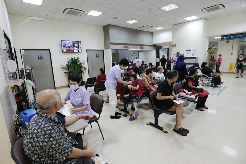 A waiting area at Jurong Polyclinic, on April 30, 2019. The new polyclinic will be 2 1/2 times larger than the current one.