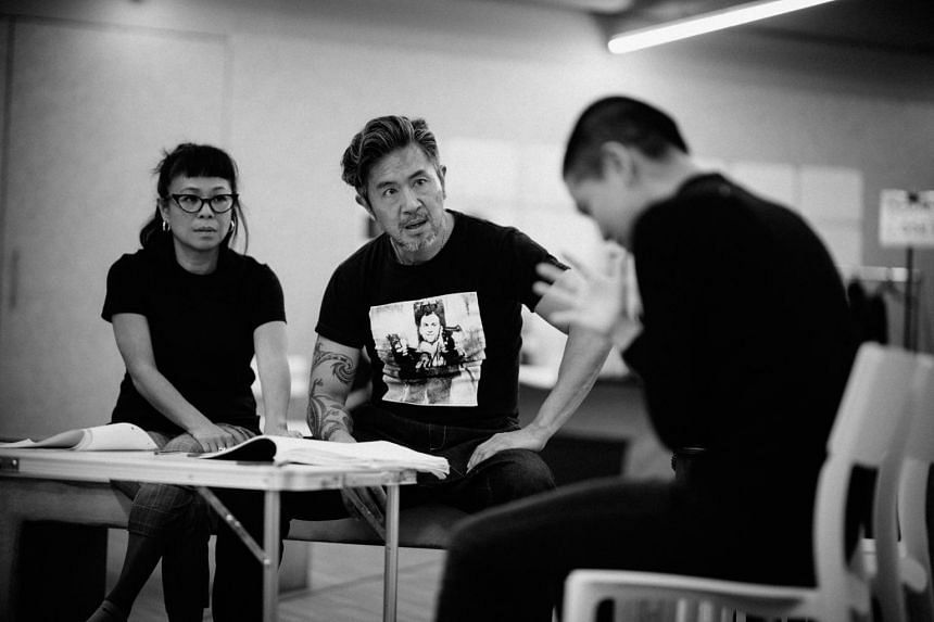 Pam Oei (left) and Adrian Pang (centre) in rehearsals for Pangdemonium's new production, This Is What Happens To Pretty Girls.
