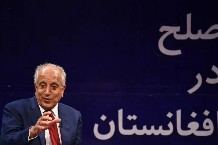 US special representative for Afghan peace and reconciliation Zalmay Khalilzad gestures as he speaks during a forum talk with Afghan director of TOLO news Lotfullah Najafizada in Kabul on April 28, 2019.