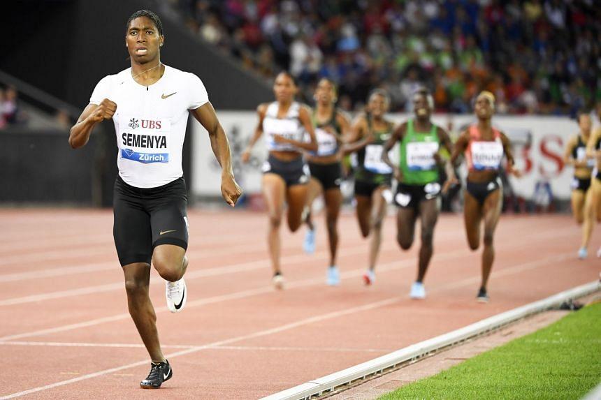 Semenya (left) en route to winning the women's 800m race during the Weltklasse IAAF Diamond League international athletics meeting in 2018.