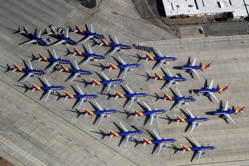 Southwest Airlines' Boeing 737 Max aircraft parked at the Southern California Logistics Airport in Victorville, California, in March, following global grounding of the model after two fatal accidents in five months. The grounding is weighing on Boein