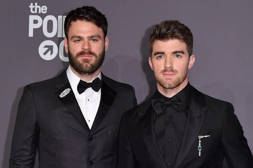 The Chainsmokers musicians Alex Pall (left) and Andrew Taggart at The amfAR Gala New York, the Foundation's 21st annual benefit for Aids research during New York Fashion Week at Cipriani Wall Street, New York, on Feb 6, 2019.
