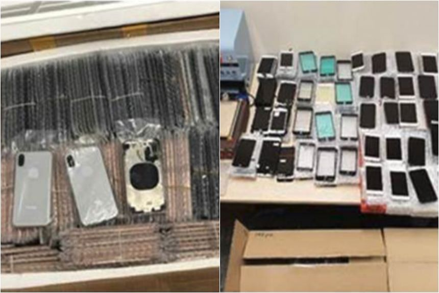 More than 3,400 pieces of mobile phones and components with falsely applied trademarks of well-known brands were seized.
