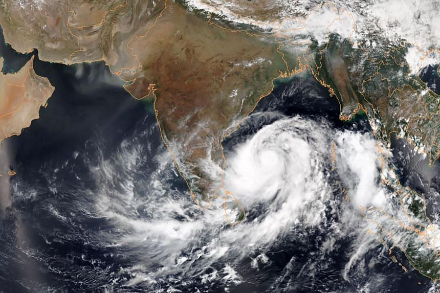 A satellite image showing tropical Cyclone Fani intensifying in the Bay of Bengal, on May 1, 2019.
