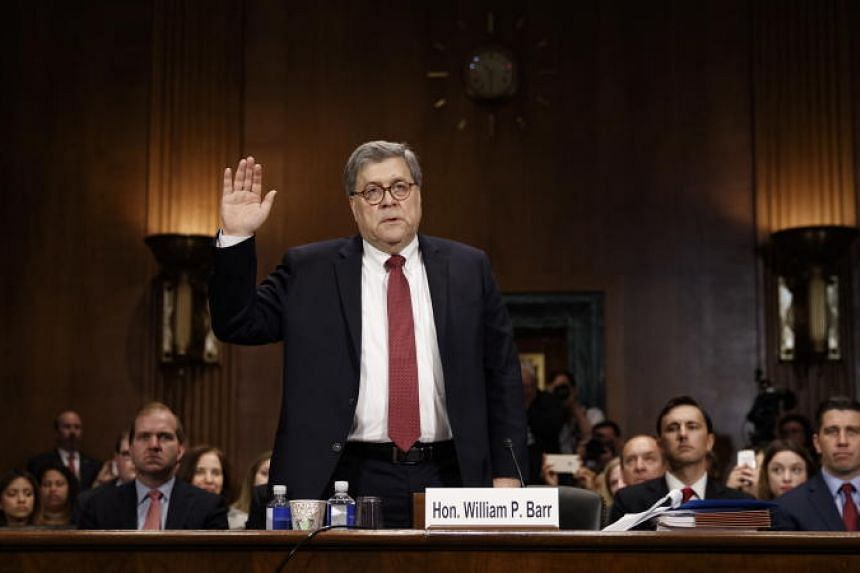 "US Attorney-General William Barr is sworn in prior to testifying before the Senate Judiciary Committee's hearing on ""The Justice Department's Investigation of Russian Interference with the 2016 Presidential Election"" on Capitol Hill in Washington on"