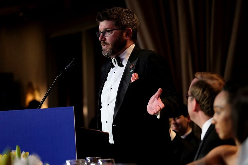 """White House Correspondents' Association president Olivier Knox speaking at the annual dinner in Washington on Saturday. At the event, the refocus on the media rather than on President Donald Trump was welcomed by many. Mr Knox said: """"I don't wa"""