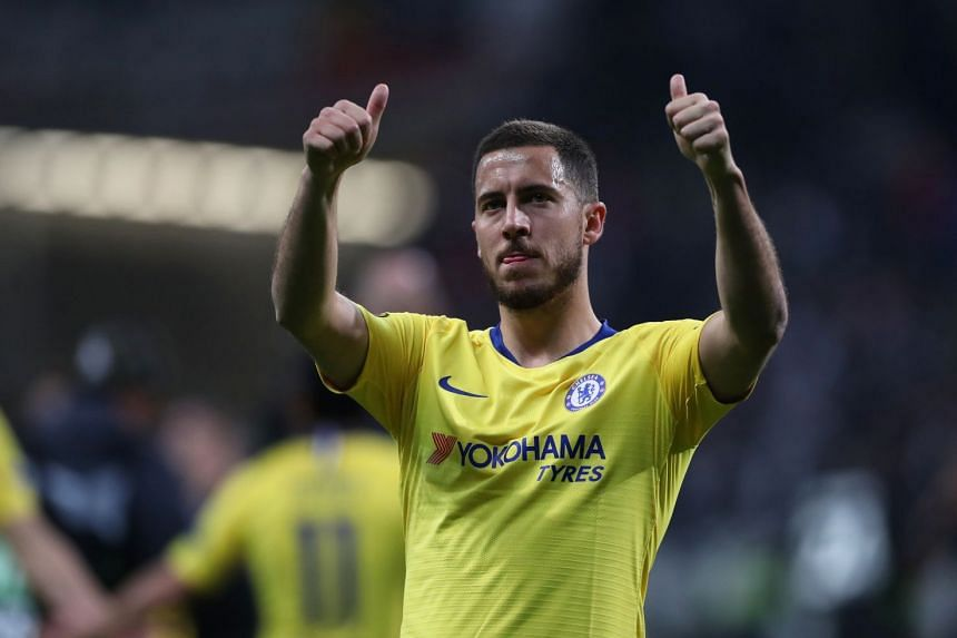 Chelsea's Eden Hazard gestures to the fans at the end of the match.