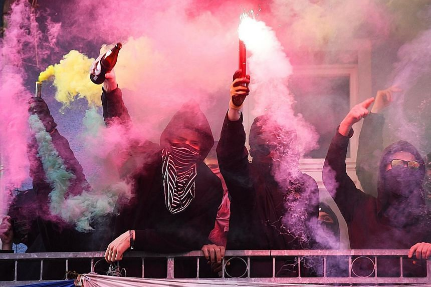 May Day protests in Berlin's Friedrichshain district over housing issues in the capital.