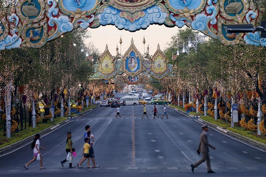 An ornamented street near Thailand's Grand Palace seen yesterday ahead of King Maha Vajiralongkorn's coronation in Bangkok. The coronation, which takes place from tomorrow to Monday, will be the first the country has seen in 69 years since his father