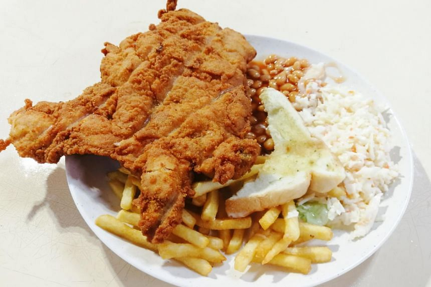 The chicken cutlet dish at 5 Star Corner is $6 and comes with baked beans, fries, garlic bread and coleslaw.