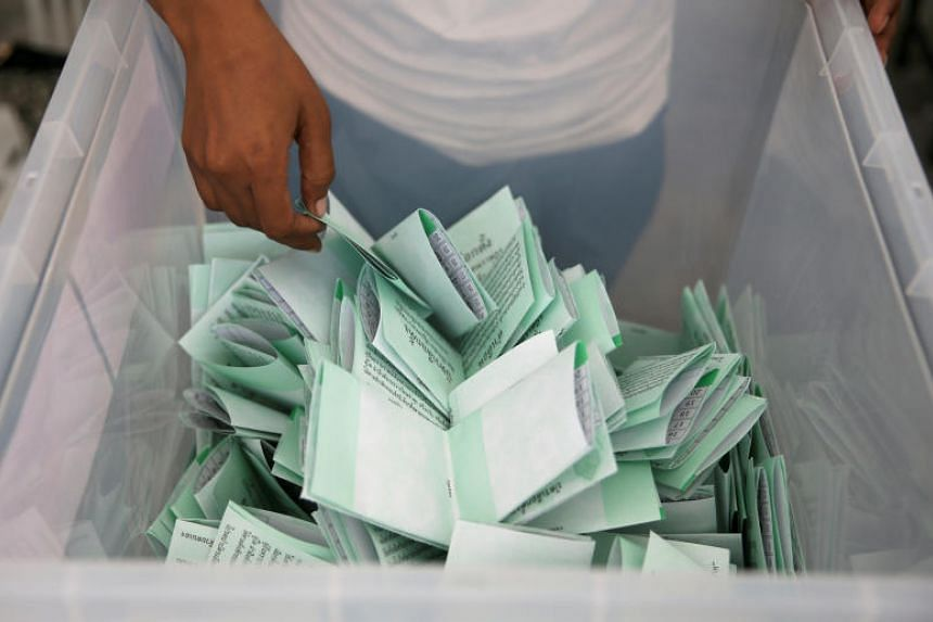 Ballots are counted during the general election in Bangkok, Thailand, on March 24, 2019.