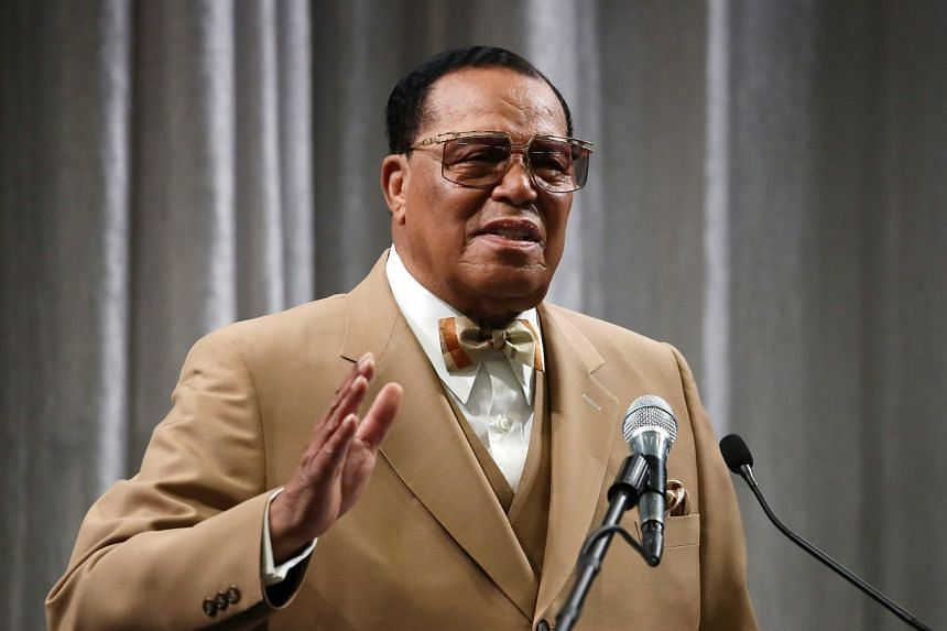 Nation of Islam's Louis Farrakhan delivers a speech in Washington in 2017.