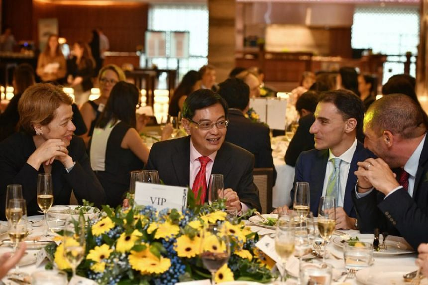 (From left) The EU Ambassador to Singapore Barbara Plinkert, Deputy Prime Minister Heng Swee Keat, European Chamber of Commerce president Federico Donato and Pernod Ricard Singapore's managing director Cedric Retailleau at a Europe Day luncheon on Ma