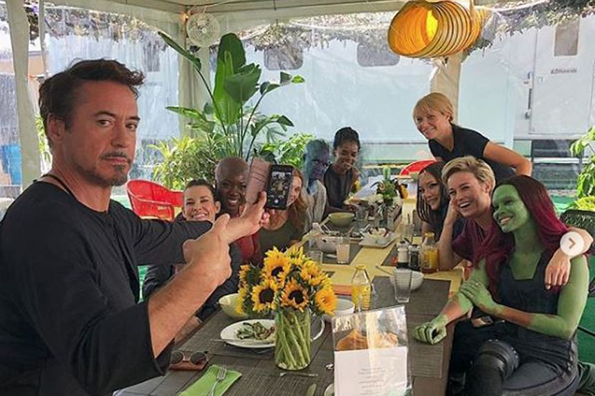 A SUPERHEROES' LUNCH: A-list actor Robert Downey Jr (above, left) is used to having power lunches with Hollywood's movers and shakers. But while shooting Avengers: Endgame, he decided to host lunch for a group of women who portray characters in the s
