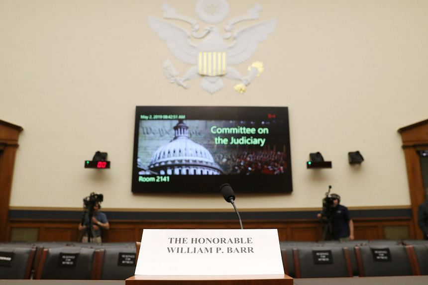 The witness table where Attorney-General William Barr (above) was to testify yesterday, before the House Judiciary Committee. He cancelled his appearance after disagreeing with the hearing's format. PHOTO: AGENCE FRANCE-PRESSE