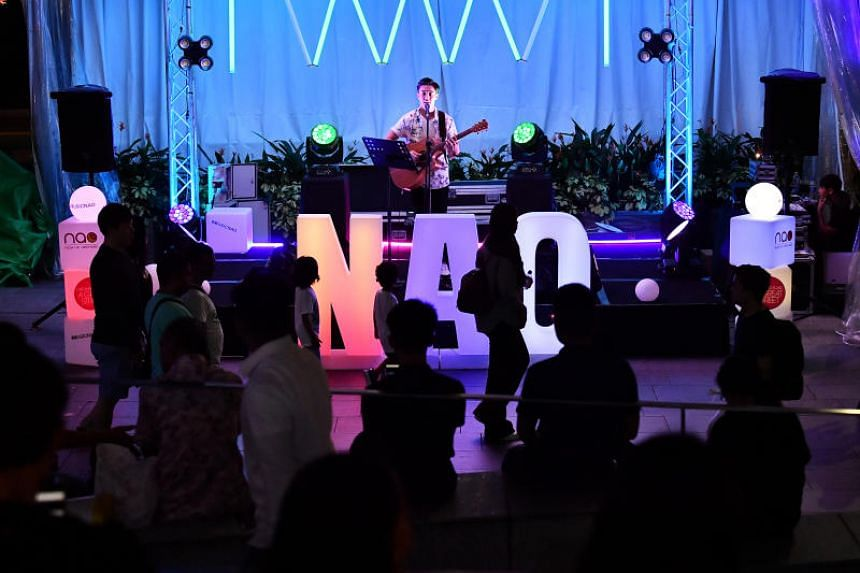 Singer-actor Gavin Teo performing at the roving pop-up concept - NAO (Night At Orchard), along the stretch between ION Orchard and Ngee Ann City on May 3, 2019.