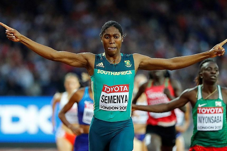 The Court of Arbitration for Sport had to weigh fair play on the sports field against the human rights of athletes like Caster Semenya, seen here celebrating her victory in the 800m final at the 2017 World Championships. PHOTO: REUTERS