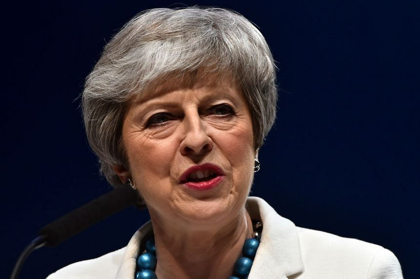 Theresa May speaks at the Scottish Conservative party conference in Aberdeen.