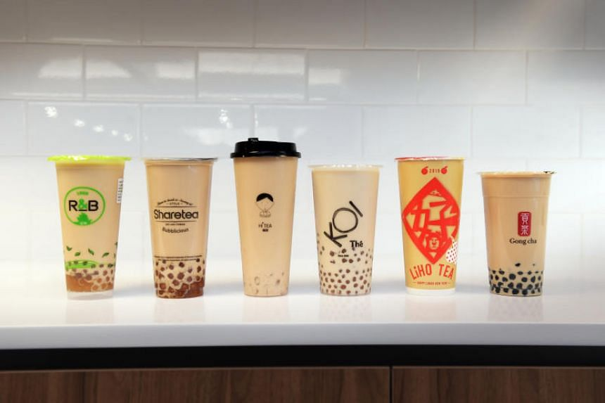 Different brands of bubble tea that are available in Singapore.