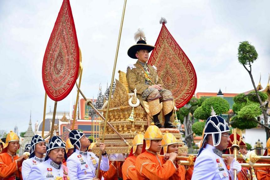 Thai King Maha Vajiralongkorn sitting on the royal palanquin while proceeding to the Temple of the Emerald Buddha during his coronation ceremony in Bangkok, Thailand, on May 4, 2019.