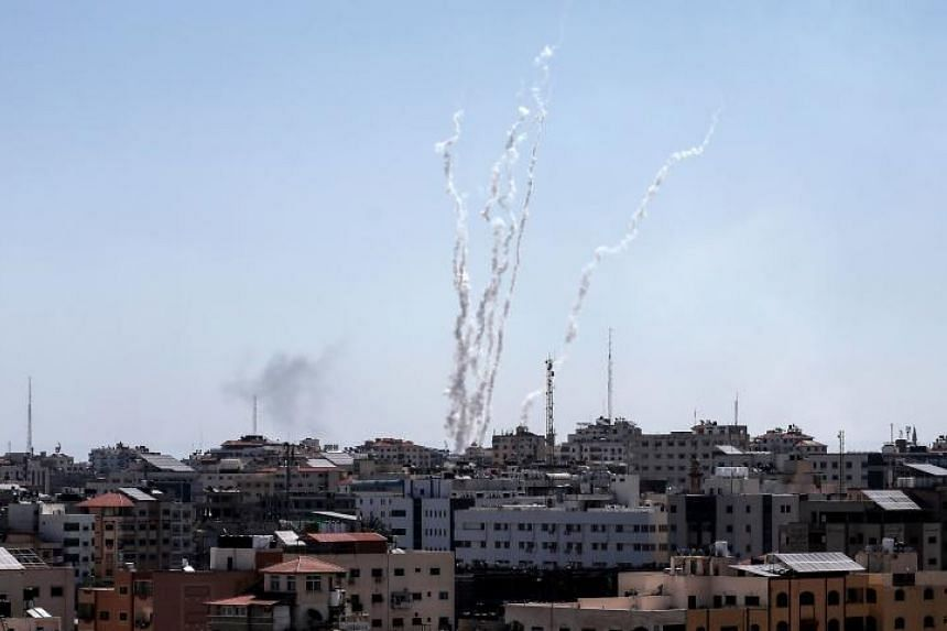 A picture taken from the Gaza Strip on May 4, 2019, shows missiles being launched towards Israel.