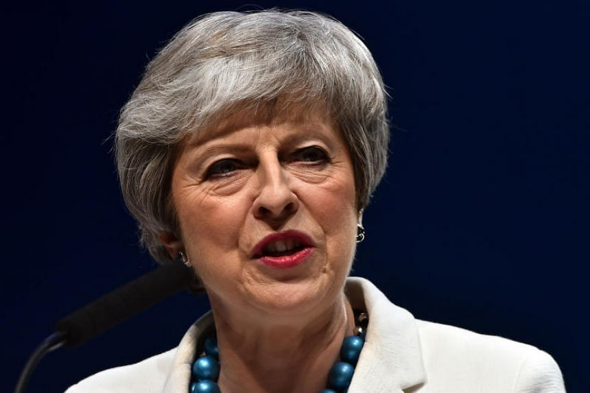 British Prime Minister Theresa May speaking at a conference in Aberdeen, Scotland, on May 3, 2019.