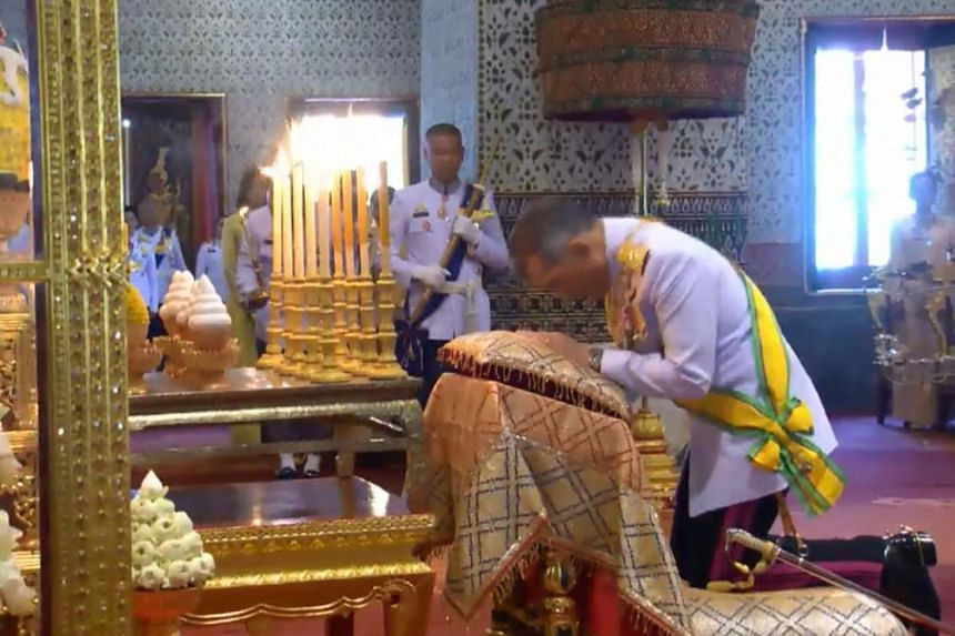 Thailand's King Maha Vajiralongkorn in the midst of special Buddhist and Brahmin rites on May 4, 2019.
