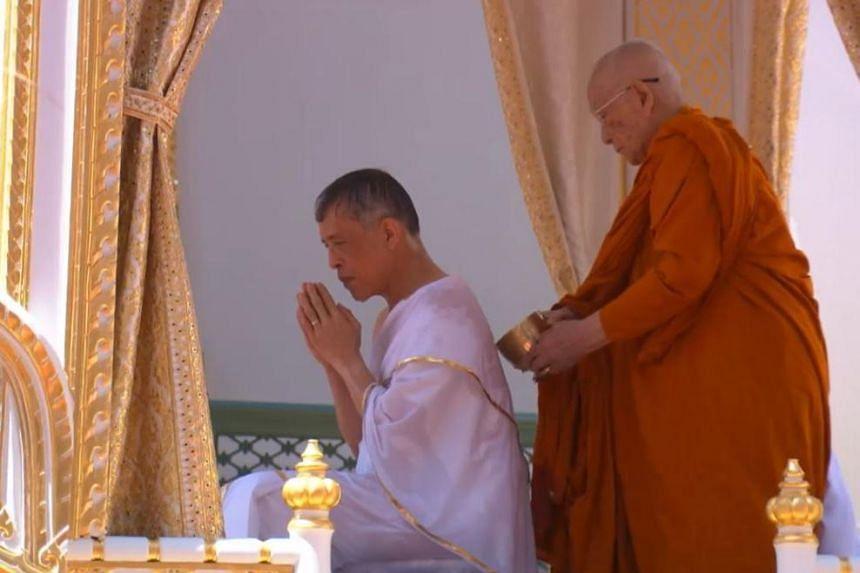 Thailand's King Maha Vajiralongkorn in the midst of a purification ceremony on May 4, 2019.