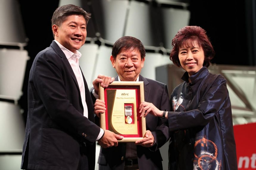 (From left) Minister in the Prime Minister's Office and Secretary-General of the National Trades Union Congress (NTUC) Ng Chee Meng, Coordinating Minister for Infrastructure & Minister for Transport Khaw Boon Wan, and NTUC President Mary Liew at the