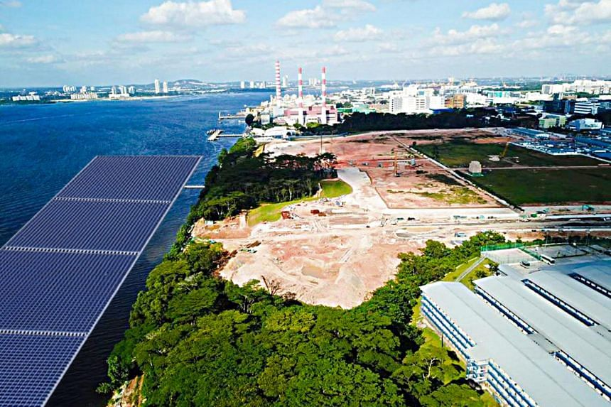 An artist's impression of the offshore floating photovoltaic system to be located north of Woodlands Waterfront Park.