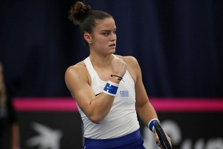 Sakkari (above, in a file photo) rallied from a set and a break down to beat Konta 2-6 6-4 6-1.