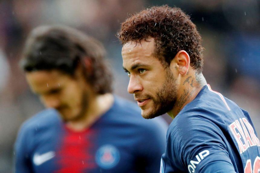 Paris St Germain's Neymar during the match.